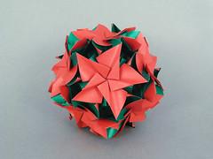 Clematis var. (masha_losk) Tags: kusudama кусудама origamiwork origamiart foliage origami paper paperfolding modularorigami unitorigami модульноеоригами оригами бумага folded symmetry design handmade art