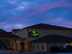Good Morning, LaQuinta! (Thru Mikes Viewfinder) Tags: hotel motel laquinta dawn morning sunrise clouds colorado castlerock travel inn suites winter