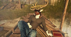 Summer Dreaming (pancake.preiss) Tags: caribou deer anthro furry anthropomorphic secondlife sl pancake water pier summer afternoon relaxing vintage fantasy roleplay virtualreality virtual scenic photographic cgi avatar cinematic country boat character farm