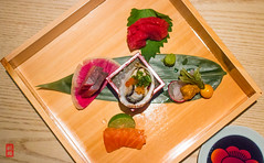 Sashimi - bluefin tuna, yellowtail, trout with key lime, Japanese sea bass topped with uni and gooseberry, oyster (luyaozers) Tags: dinner restaurant nyc kaiseki japanese dining food luxury fresh delicious yummy sashimi raw bluefin tuna yellowtail fish trout lime gooseberry bass uni oyster seafood