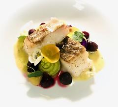 Cod, watercress mash, textures of beetroot, nasturtium. (Andee Green Photography) Tags: nasturtium flower dining meal menu cod fish food
