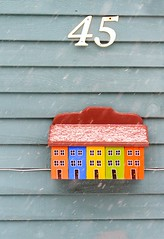 45 (Karen_Chappell) Tags: mail mailbox post nfld newfoundland jellybeanrow house blue snow snowing winter stjohns downtown city urban wood wooden art paint painted clapboard orange yellow green red multicoloured number colourful colours colour canada atlanticcanada avalonpeninsula eastcoast color rowhouse home weather cold snowy