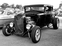 Chopped Ford 5 Window Coupe Hot Rod (J Wells S) Tags: ford5windowcoupe hotrod streetrod chopped blackandwhite bw monochrome chrome nofenders fordhotrod milfordcruisein cincinnati ohio milford cruisein