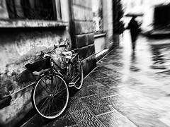 just... follow the melody of the rainy street.... (Eggii) Tags: rain italy street mood bw monochrome phone winter trip mono blackandwhite pistoia
