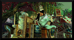 ~ Enough with the books already! ~ (♥ Second Life) Tags: second life destinations places travel guide magic unicorn mad hatter alice wonderland books bar leprechaun trolls scryer tarot campfire ruins photography photogenic bloggers vloggers photographers