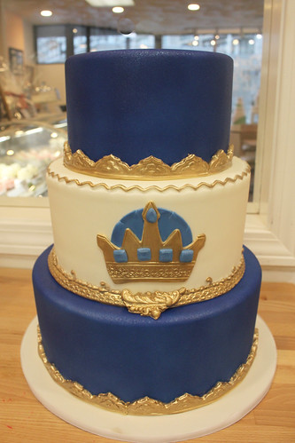 Royal Blue and Gold Crown Filigree Cake