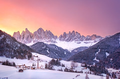 Santa Maddalena (inkasinclair) Tags: sunrise santa maddalena st magdalena winter snow sun mountain odle mountains val di funes dolomites italy europe church villnoss valley