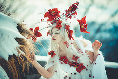 "TEATRONATURA ""The Spirit of winter"" (valeriafoglia) Tags: model makeup magic atmosphere art nature teatronatura colors spirit winter snow creature creative composition capture beautiful beauty red flowers white dress delicate photography photo fantasy fairy forest"