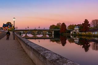 coucher de soleil sur Auxerre