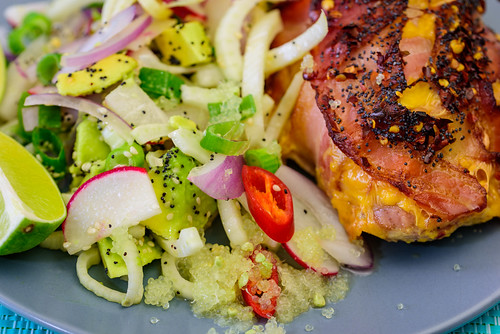 Wednesday dinner. Bacon and cheese wrapped chicken maryland cooked with the MEATER®️ and served with leftover fennel salad and avocado 💚