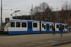 918, Amsterdam Centraal, January 27th 2015 (Southsea_Matt) Tags: 918 route5 serie11g gvbamsterdam centraalamsterdamhollandthe netherlandspassenger travelpublic transporttrammetrolight rail