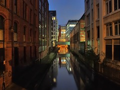 Rochdale Canal, 1804, city centre, Manchester, England. (edk7) Tags: olympusomdem5 edk7 2017 uk england lancashire greatermanchester manchester manchestercentre rochdalecanal1804 oxfordstreetlock88 oxfordstreetbridge victorian architecture building oldstructure offices vintage city cityscape urban twilight dusk sunset graffiti peace
