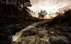 Highland Sunset (-- Q --) Tags: linnodee royaldeeside balmoral scottishhighlands braemar scotland sunset waterfall longexposure landscape cairngormsnationalpark cairngorm lee09softgrad qthompson water
