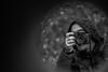 Claudio in front of a huge fireball (AlphaAndi) Tags: mono monochrome urban city leute people personen portrait photographer menschen menschenbilder trier tiefenschärfe wow dof fullframe face vollformat nahaufnahme sony gesicht closeup