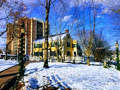 Arlington (El Alcalde de l'Antartida) Tags: historic landmark arlington massachusetts newengland winter snow cold sunny boston town cyrusdallinartmuseum museum house plaza square lamp season lgcameraphones lg nexus