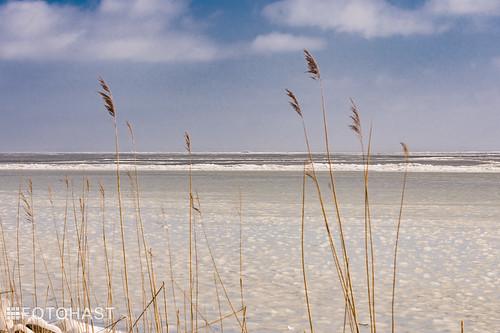 Het lijkt strand maar is een ijsvloer