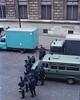Paris Riot Police (paulgumbinger) Tags: yashica ee kodak gold 100 35mm film c41 paris france riot police tear gas guns rifles uniformed uniform cops street vehicals