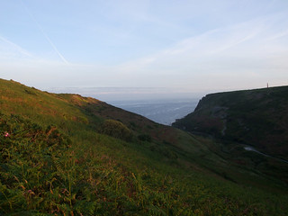 Mouth of Cot Valley from a little inland, high up on SW side, at sunrise
