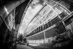 Inception (ianrwmccracken) Tags: building wideangle architecture edinburgh samyang fisheye monochrome bw black white grey urban city scotland concrete distortion curve ian mccracken nikon d750