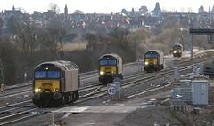 Over the points (kitmasterbloke) Tags: westcoastrailwaycompany wcrc class57 brush 57314 ketteringnorth northamptonshire composite railway outdoor transport uk telephoto
