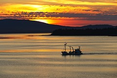 gone fishing (nunyaman) Tags: alaska boat ocean mountains sunset colorful scenery landscape orange red water