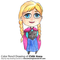 Chibi Anna from Frozen (drawingtutorials101.com) Tags: chibi anna characters disney princess frozen kawaii how draw color pencils chibis drawings drawing with pencil