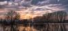 Wasser... (Rafael Zenon Wagner) Tags: panorama abend evening sonne sun sundown sonnenuntergang spiegelung reflection 70mm deutschland germany nrw düsseldorf urdenbach bäume trees flut flood