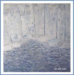 Segelboote - Sailboots /4 (Jui Jah Fari) Tags: meer wasser water juijahfari weiss grau oil öl leinwand germany deutschland art artist kunst künstler abstract segelboote boote segeln oilpainting malerei gütersloh canvas sailboots sailing abstrakt