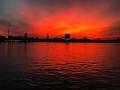Penns Landing Sunrise (dweible1109) Tags: magichour penna philadelphia red cellphonephoto iphone skyscape sunrise delawareriver pennslanding