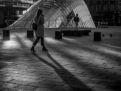 Home Time (Leanne Boulton) Tags: building monochrome people urban street candid streetphotography candidstreetphotography urbanlandscape landscape woman female girl man male pigeon birds walking shape form architecture legs reflection mood atmosphere glass subway windows tone texture detail depth naturallight outdoor sunlight light shade shadow shadows shadowplay city scene human life living humanity society culture canon canon5d 5dmkiii 50mm primelens ef50mmf14usm black white blackwhite bw mono blackandwhite glasgow scotland uk