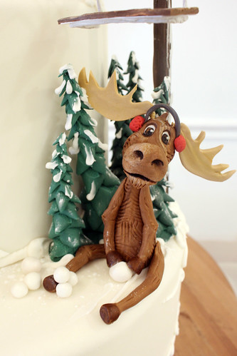 Ski Slope Moose Figurine Cake