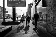 DR150904_1648D (dmitryzhkov) Tags: urban life social public reportage photojournalism street dmitryryzhkov moscow russia streetphotography people human city bw blackandwhite monochrome conversation speak talk couple two door gate everyday candid stranger group bunch