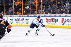 "Kansas City Mavericks vs. Florida Everblades, February 18, 2018, Silverstein Eye Centers Arena, Independence, Missouri.  Photo: © John Howe / Howe Creative Photography, all rights reserved 2018 • <a style=""font-size:0.8em;"" href=""http://www.flickr.com/photos/134016632@N02/39491137825/"" target=""_blank"">View on Flickr</a>"