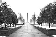 Foggy Memorial (rcss2800) Tags: cemetary cemetery winter landscape fog blackandwhite monochrome tree trees snow park sky walkway sidewalk road architeture
