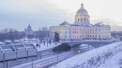 MN State Capitol 4K Timelapse (Sam Wagner Photography) Tags: st paul minnesota twin cities twilight blue hour long exposure train light rail traffic transit blur midwest winter icon architecture 4k uhd time lapse timelapse