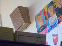 DSC01087 (classroomcamera) Tags: school classroom intercom intercoms portrait portraits selfportrait selfportraits art artwork kid kids student students child children boys girls brown white wall above up down below book books