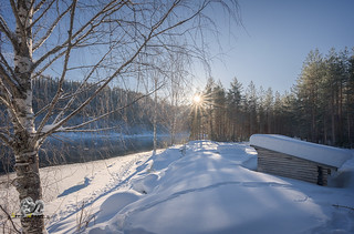 swedish winter landscape with picnic place