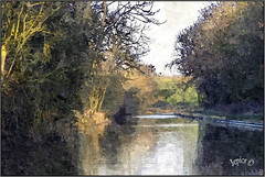 Waterway. (Picture post.) Tags: canal winter art water reflections trees sunlight paysage arbre eau painting