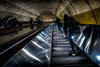 Going Up (Pete Douglass) Tags: dcmetro commuters escalator metallic reflection street subway