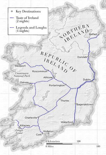 Belmond Grand Hibernian 2018 Route map
