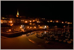 Tenby harbour - night shot (Mark Dyer @ Island Picture Framing) Tags: tenby pembrokeshire harbour night lights boats town spire dark picture image photograph