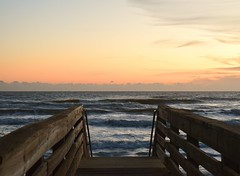 Sunrise #1 (MJ Harbey) Tags: sunrise ocean sea sky clouds atlanticocean newsmyrnabeach florida usa nikon d3300 nikond3300 waves boardwalk bridge