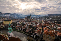 Is it a dream? (Daniel Nebreda Lucea) Tags: town pueblo old viejo antiguo medieval age edad media travel viajar ciudad small pequeña sky cielo atmosphere atmospheric atmosfera cesky krumlov architectura arquitectura beautiful bonita dream sueño canon 60d 1018mm houses panoramic panorama panoramica village villa church iglesia charm encanto europe europa art arte historic historico mountain montaña river rio urban urbano light luz lights luces shadows sombras cloudy nublado czech republic casas winer invierno fog niebla