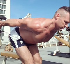 tricep kickbacks (ddman_70) Tags: shirtless gym muscle workout outdoors