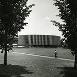 Harrelson Hall before being surrounded by bricks.