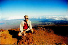 Atop Haleakala 056 (Bill in DC) Tags: hi hawaii 1999 maui haleakala film eosa2 canon 35mm smp4 selfie