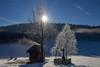 Winter (svenschmider) Tags: winter schnee sonne sonnenschein reflexion himmel sky snow hütte hut kruzifix landschaft landscape hdr nebel fog