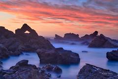 Jurrassic coast... (muzzpix-nz) Tags: luminaredit sunset northrock mounttrack leefilters littlestopper mountmaunganui nz newzealand tauranga longexposure rocks volcanic rhyolite redsky red waves