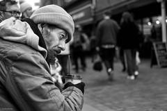 Freshly Ground (Silver Machine) Tags: winchester streetphotography street streetportrait sitting coffee watching beard beanie straw outdoor man candid mono monochrome blackwhite bw fujifilm fujifilmxt10 fujinonxf35mmf2rwr