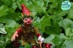 Gnome (Valentina Bruschi) Tags: gnome strawberry handmade ooak doll polymer clay red green leaves garden fruit hat feather leaf dress
